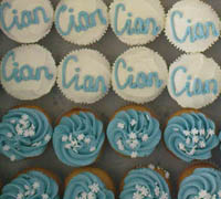 christening cupcakes for a boy