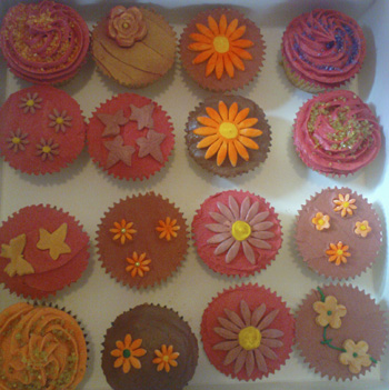fall flower cupcakes